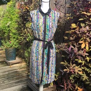 Liz Claiborne Multi-Color Shift Dress Sz L  D128